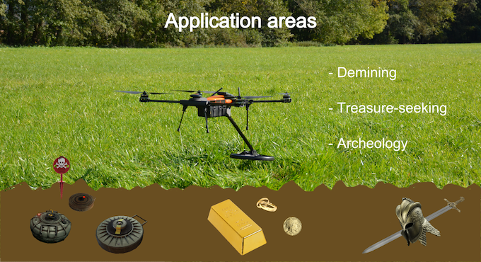 A flying metal detector can be used for a variety of tasks. But as the RadioPlane Seeker is fully modular and has an open design, it can also be used for any other jobs requiring an autonomous, self-charging drone.