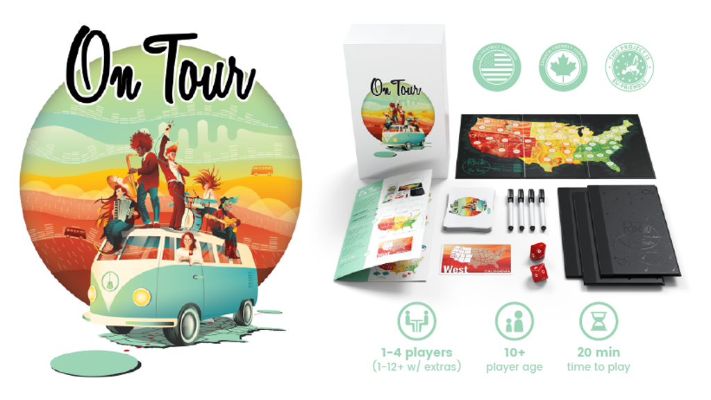 "On Tour - A strategic ""roll and write"" board game"