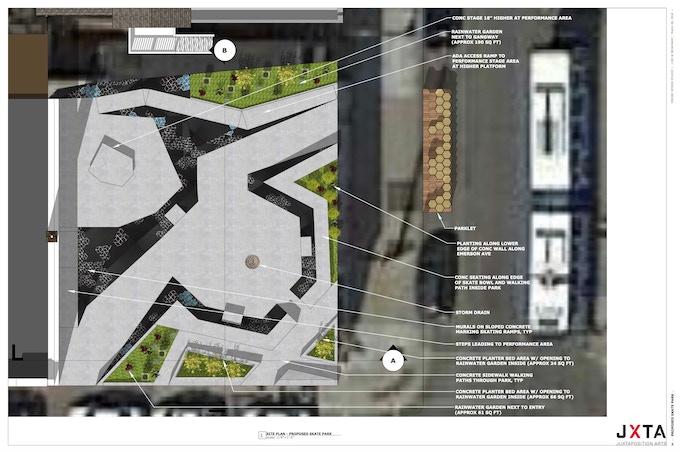 Initial art plaza design