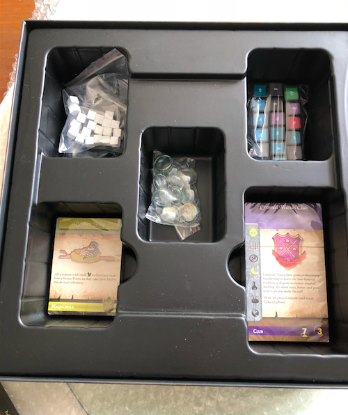 The custom tray holds the cards and components.