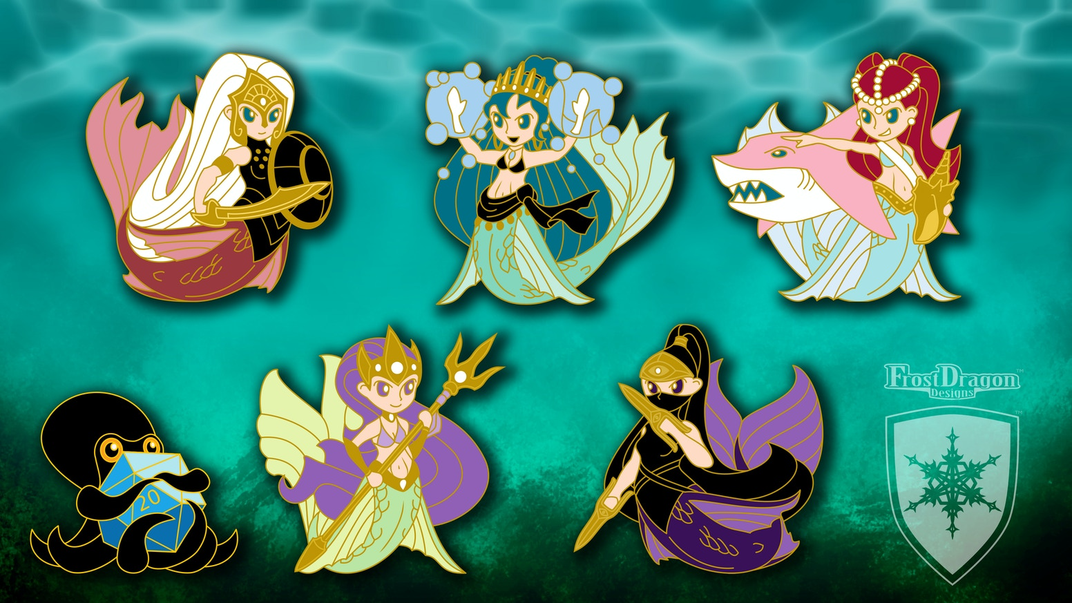 Hard enamel mermaid pins with tabletop RPG flair!  Perfect for gamers, anime and manga fans, and lovers of fantasy and mermaids!!