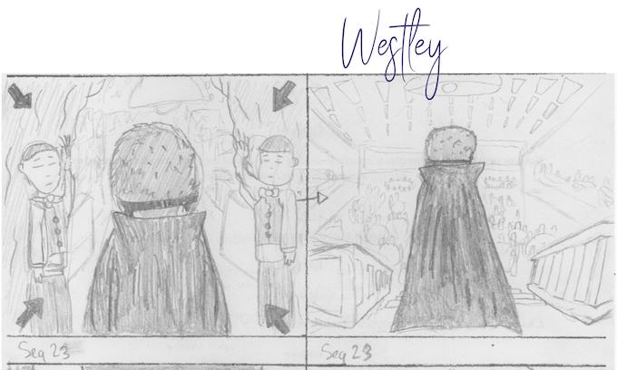 L'agent astral Westley, de dos (extrait du storyboard)