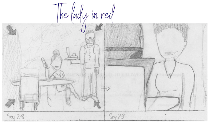 The lady in red facing Westley (extract from the storyboard)
