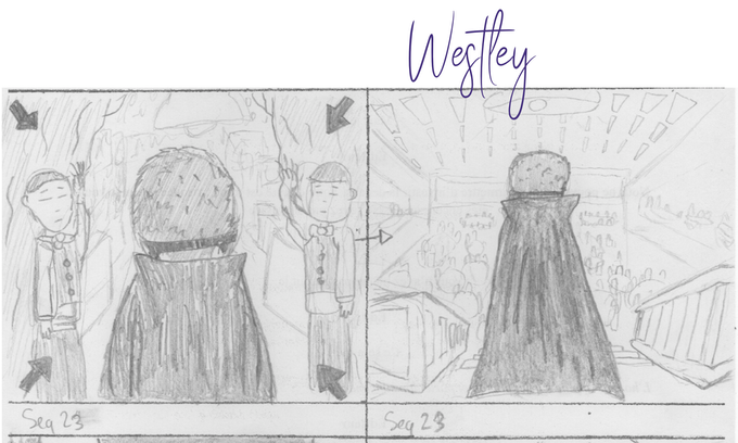 Astral agent Westley from behind (extract from the storyboard)