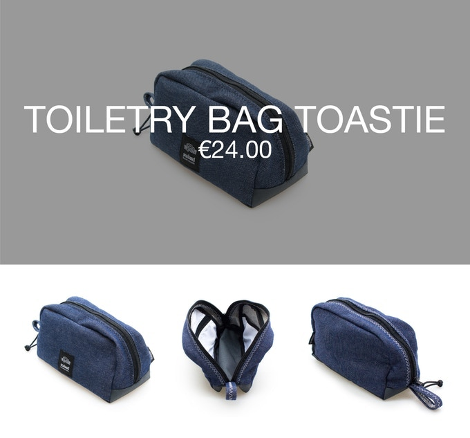 Pledge €24 or more and receive a Thank You + 1 toiletry bag TOASTIE at 40% discount (RRP ±€42).