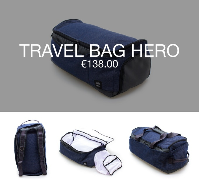 Pledge €138 or more (Early Bird special - €126) and receive 1 Hero bag at 40% discount (RRP ±€230).