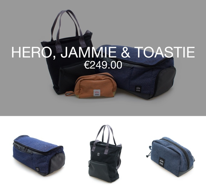 Pledge €249 or more and receive 1 Hero + 1 carry bag JAMMIE + 1 toiletry bag TOASTIE at 40% discount (RRP ±€417).