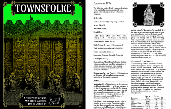 Placeholder cover and some WIP interiors of the Townsfolke 5E supplemental rules PDF.