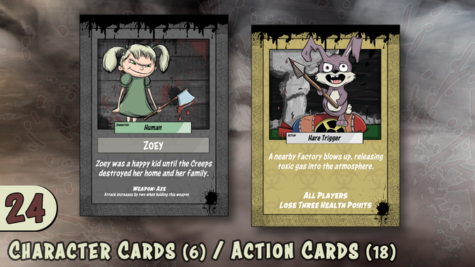 6 Character Cards / 18 Action Cards