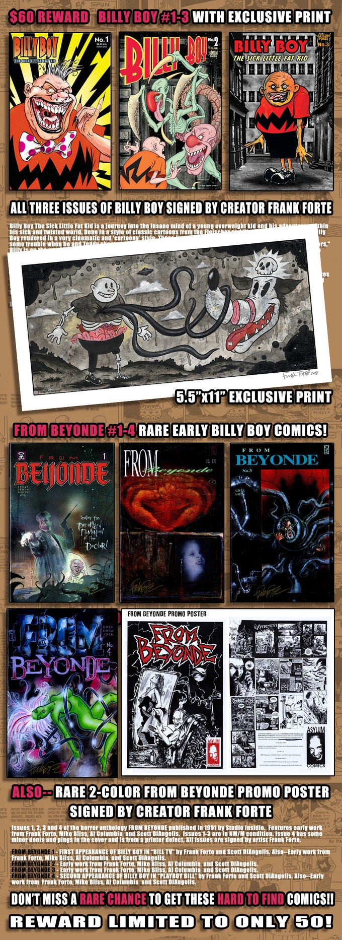 $60 REWARD-BILLY BOY 1-3, FROMBEYONDE 1-4 WITH PRINT AND POSTER