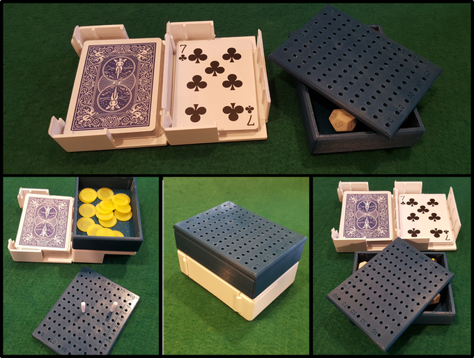 The dice tray and lid form their own storage box which can attach to any Card Caddy!