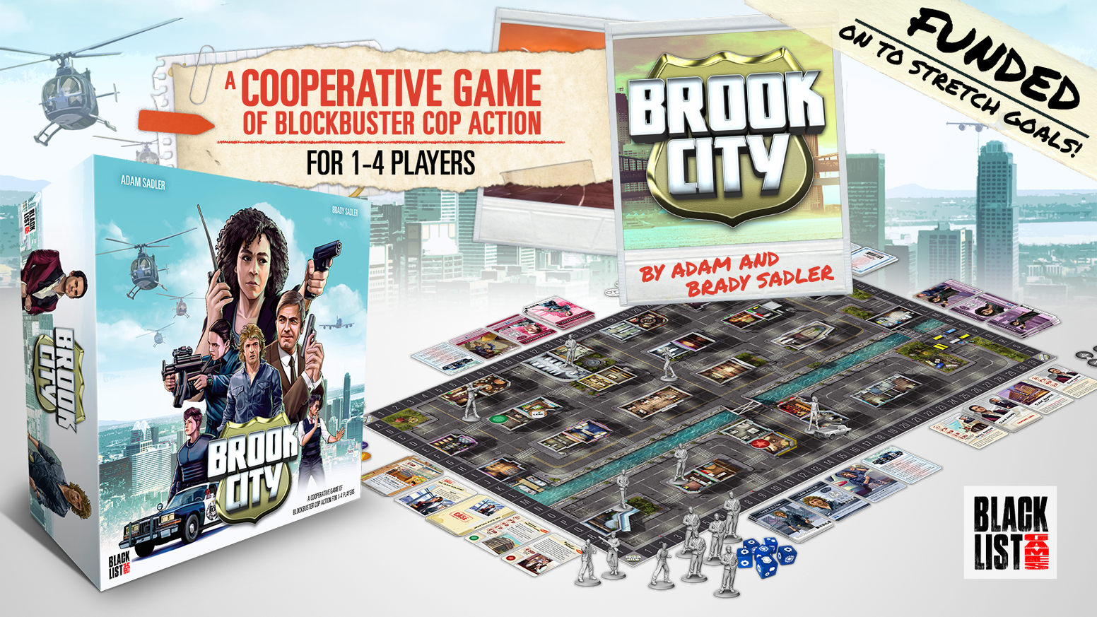 A cooperative board game where 1-4 players take on the roles of heroic cops inspired by classic action movies.