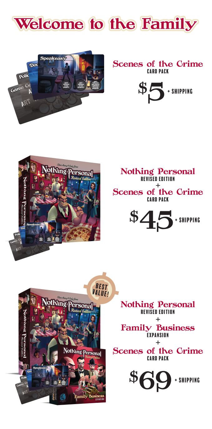 Nothing personal revised edition by game salute kickstarter these cards have been updated to better fit the revised edition but are still backwards compatible with the original edition reheart Image collections