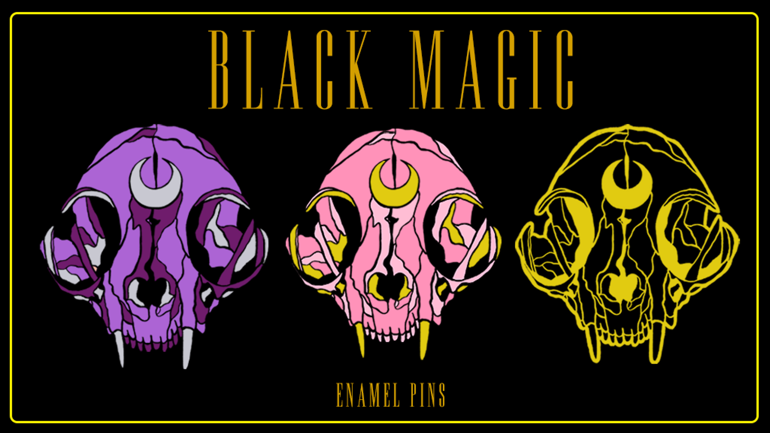 Witchy, magical cat skull hard enamel pins in purple, pink, or gold/black to add to your collection or decorate your favorite jacket!