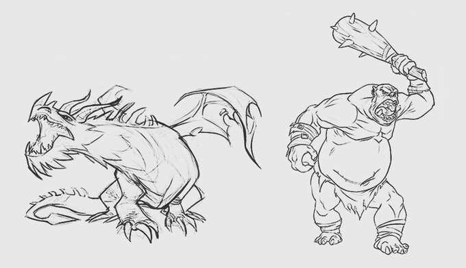 Dragon and Ogre Chief sketches