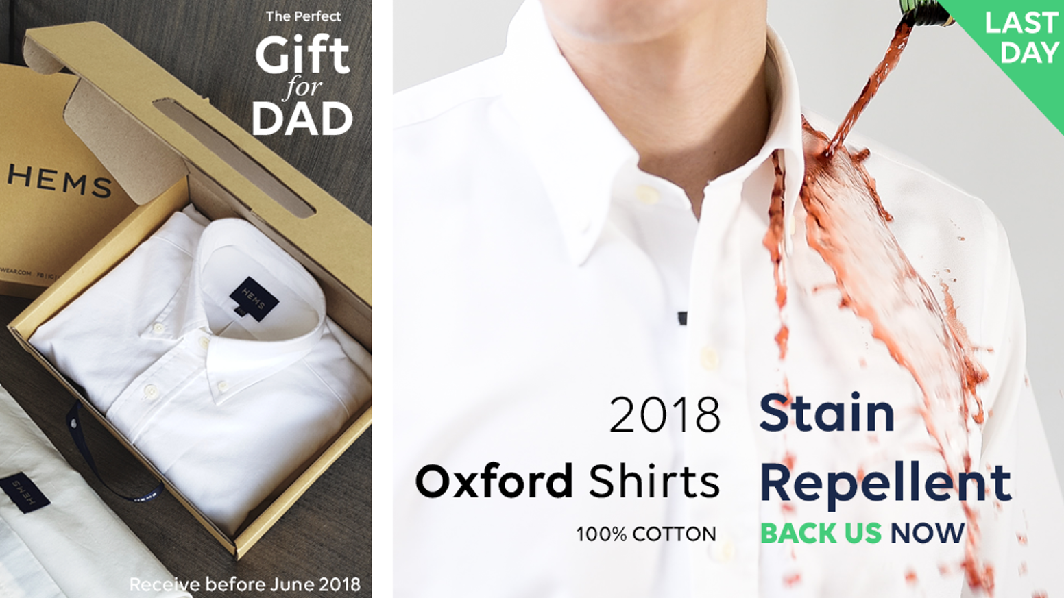 HEMS - Stain & Odour Repellent Oxford shirts, 100% Cotton is the top crowdfunding project launched today. HEMS - Stain & Odour Repellent Oxford shirts, 100% Cotton raised over $600309 from 42 backers. Other top projects include SwissMak - The Mill Turn Center for your machine shop, Aurora: World's 1st Day/Night Camera with True Night Vision, Funding the music (Canceled)...