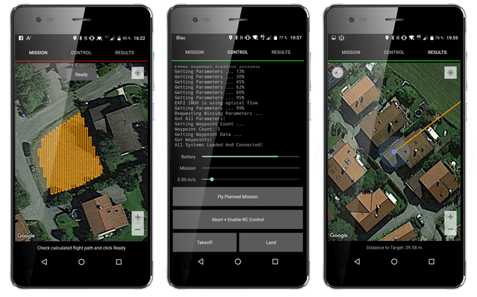 The easy to use mobile app for smart phones and tablets enables you to change settings, plan missions and examine the mission results and detection locations. Different mission types and real time notifications will be available.