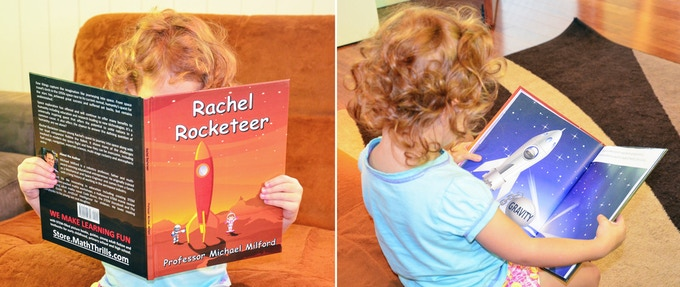 Rachel reading Rachel Rocketeer