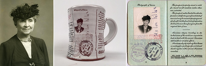 Global Ambassor UNIQUE Mug: Keller visited 37 countries during the Cold War. She was in her 70s. Made exclusively for this project, the mug is adorned with her passport photo & pages. Pledge Reward, $80.