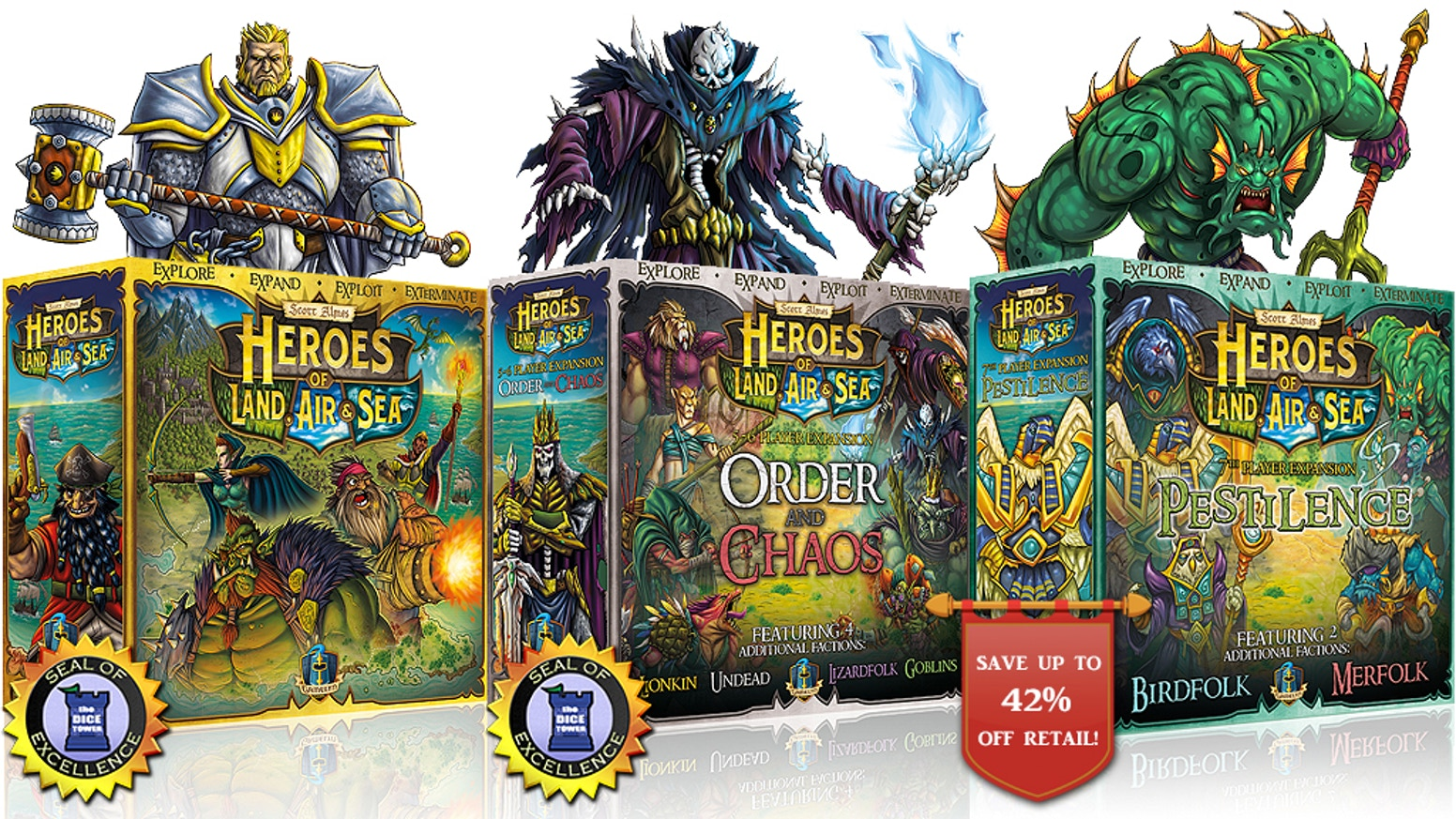 This acclaimed 4X game is back w/ a reprint and a new expansion! Now plays up to 7 players. Includes the factions Birdfolk & Merfolk!