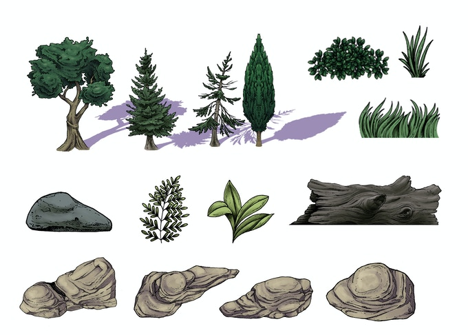 Environmental assets such as plants trees and rocks