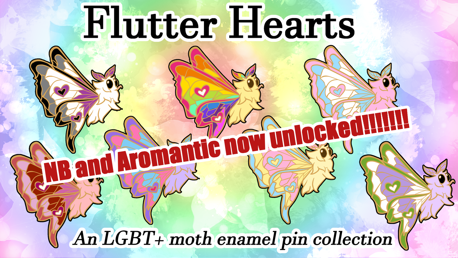 Moths are cute as heck and the only thing cuter is the queer community. Let's mash 'em together for some apo-cute-alyptic enamel pins