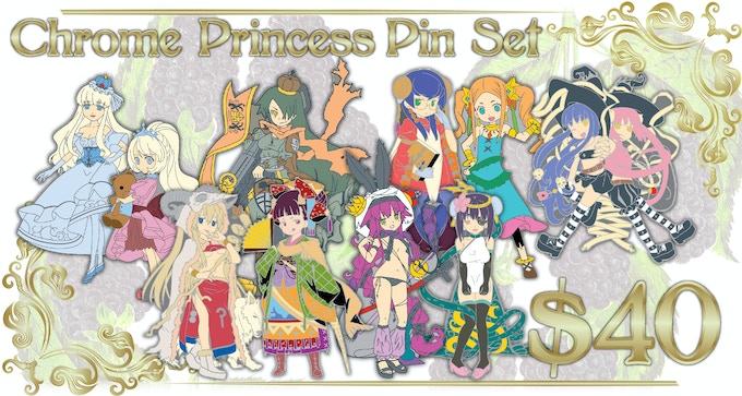 Includes 10 Chrome and Enamel Princess Pins!