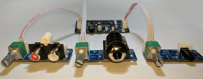 Examples of assembled breakout boards - which can be used for both input and output stereo analogue connections.