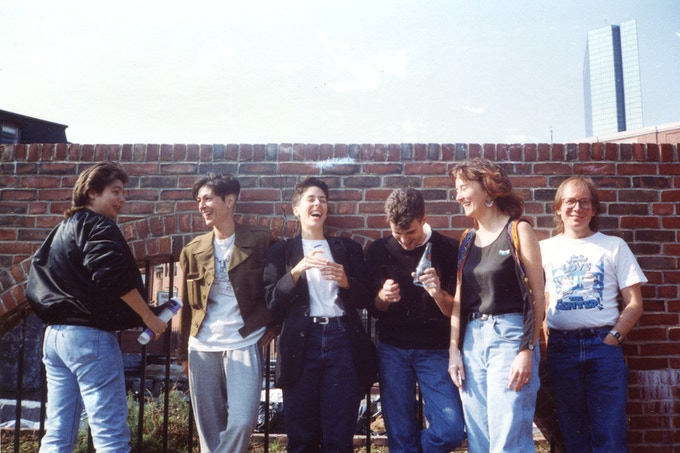 Jen Camper, Diane DiMassa, Alison Bechdel, Rob Kirby, Joan Hilty, and Howard Cruse 1990