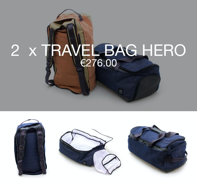 Pledge €276 or more and receive 2 Hero bag at 40% discount (RRP ±€460).
