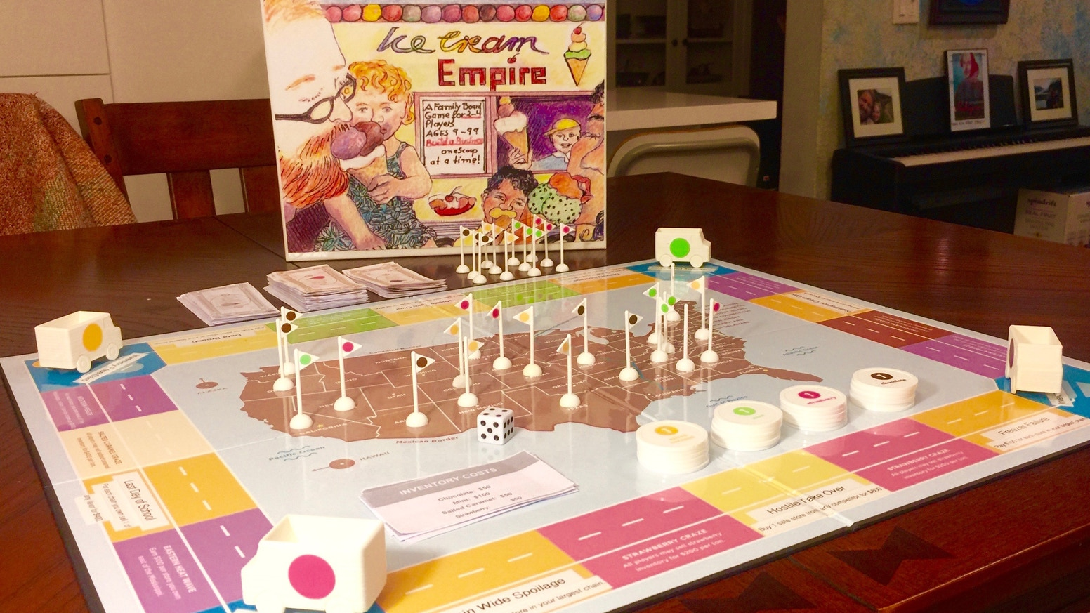 ICE CREAM EMPIRE can be pre-purchased: BackerKit.com and available on Amazon.com in 2019. Our great new game has just arrived for gamers, fun families and ice cream fans everywhere! Pre-order your game today pretty please with a cherry on top!