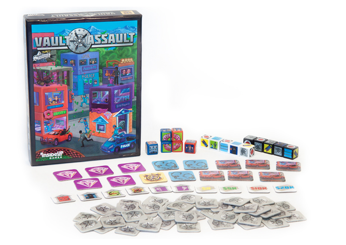 "Vault Assault is a fast-paced ""Cops & Robbers"" dice game for 2-4 players taking 10-20 minutes."