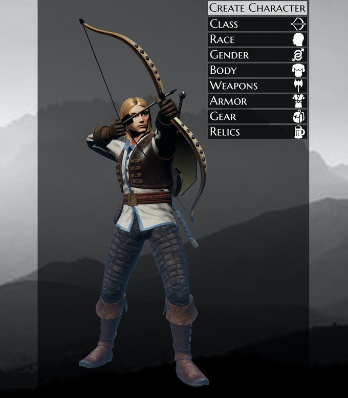 A mockup of the character creator