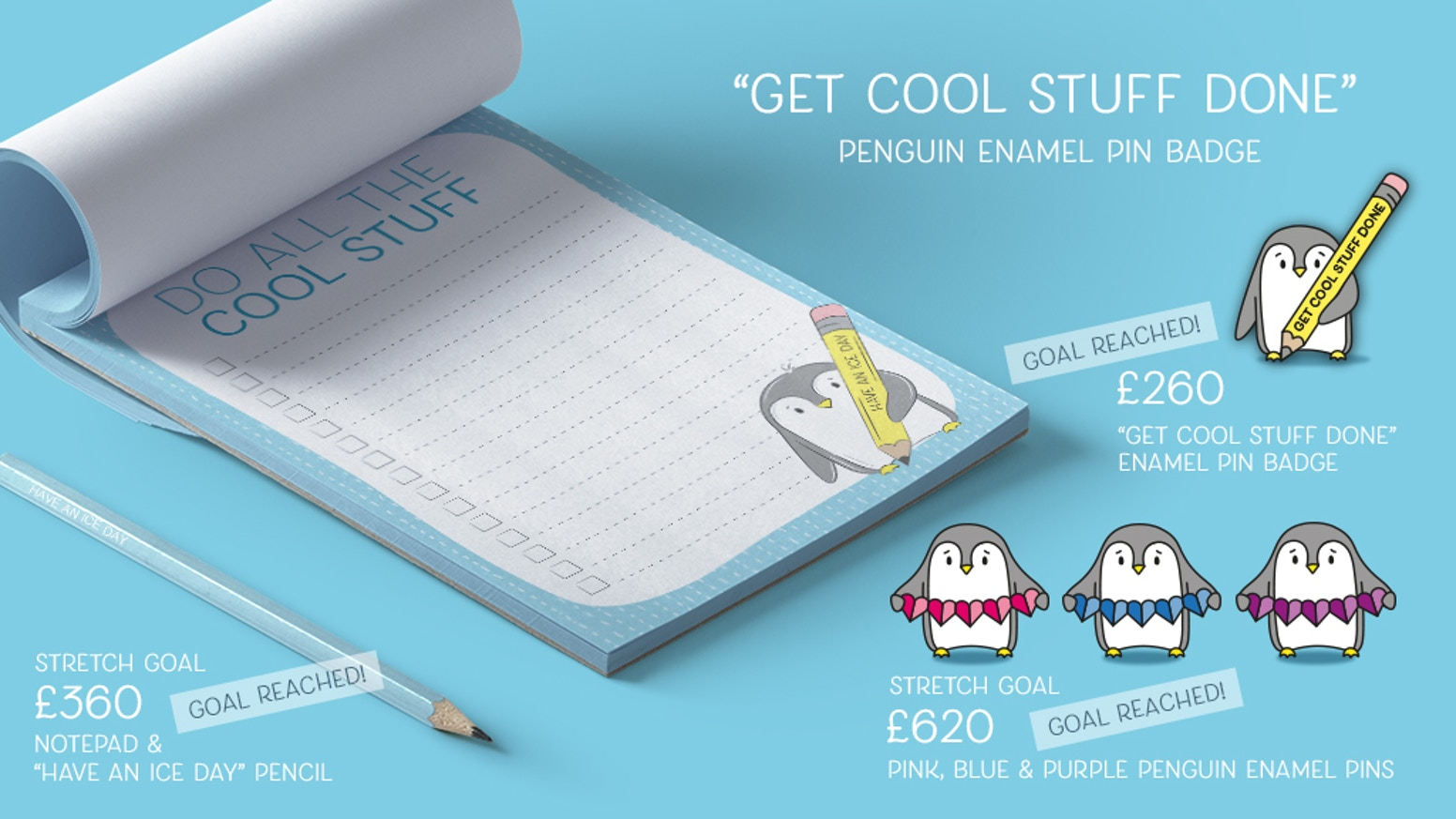 Do all the cool stuff. Penguin wants to encourage you to get the  cool stuff done with this new enamel pin design, notepad & pencil