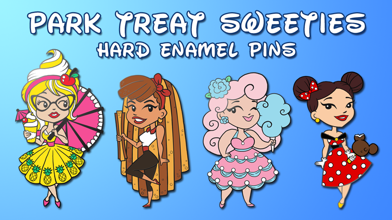 Creating hard enamel pins based on sweet park treats and dapper outfits!
