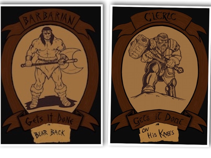 Barbarian & Cleric Portrait T-Shirts