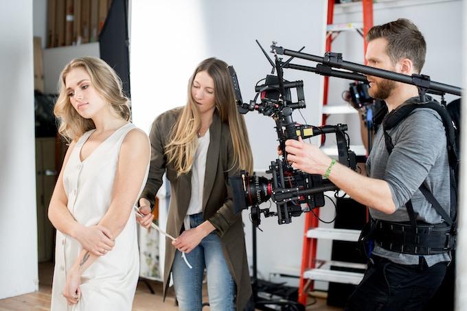 """Jessica Redditt and model @megsayles filming """"In Bloom"""" Kickstarter video"""