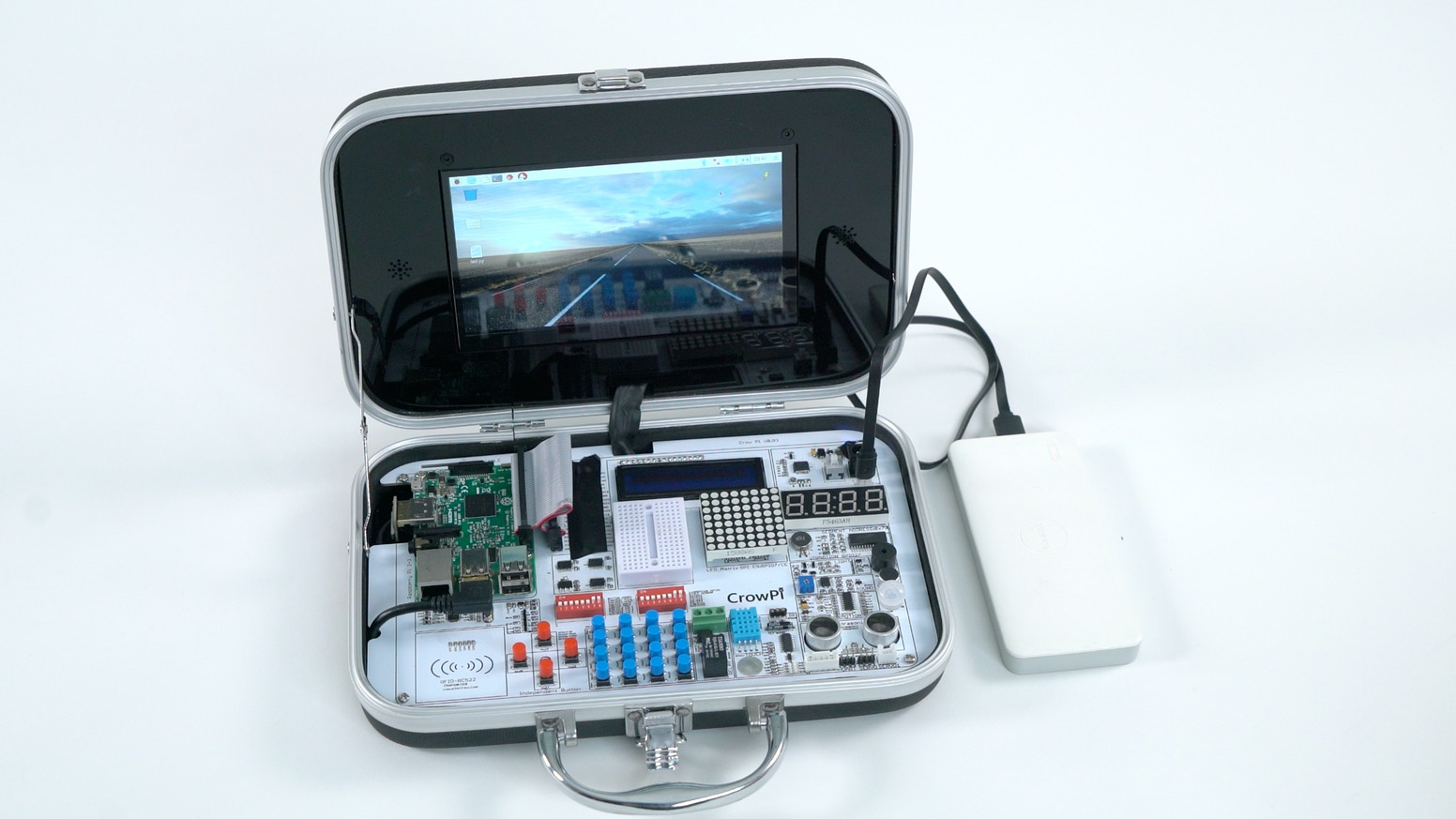 CrowPi is an amazing kit to help you learn computer science, programming, electronics and master Raspberry Pi.