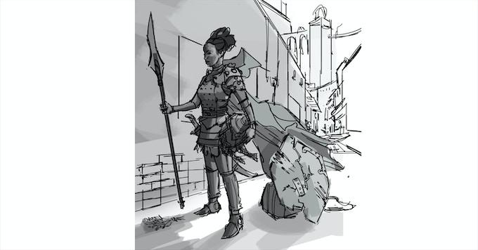 Haarkeen Warrior concept sketch