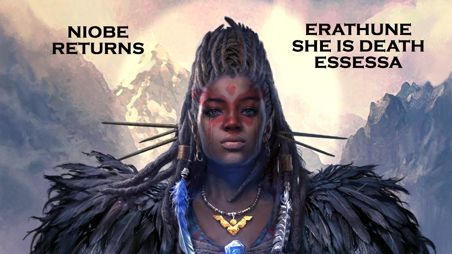 Niobe returns to reclaim her throne in 3 tales. Get the Erathune Hardcover, She is Death #1 & #2, and the vampire epic, Essessa #1!