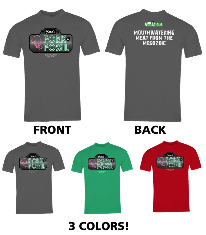 """Kickstarter Exclusive """"Fork & Fossil"""" VORACIOUS T-Shirt! Three different colors. Sizes S to 4XL available."""