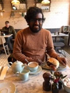 Breakfast with Monty. He had Haggis Burger, I had eggs.