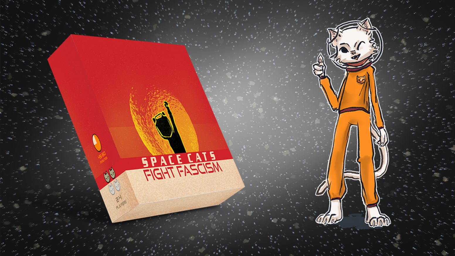 Play as a band of rebel cats trying to stop fascists from seizing control of the galaxy in this cooperative board game!