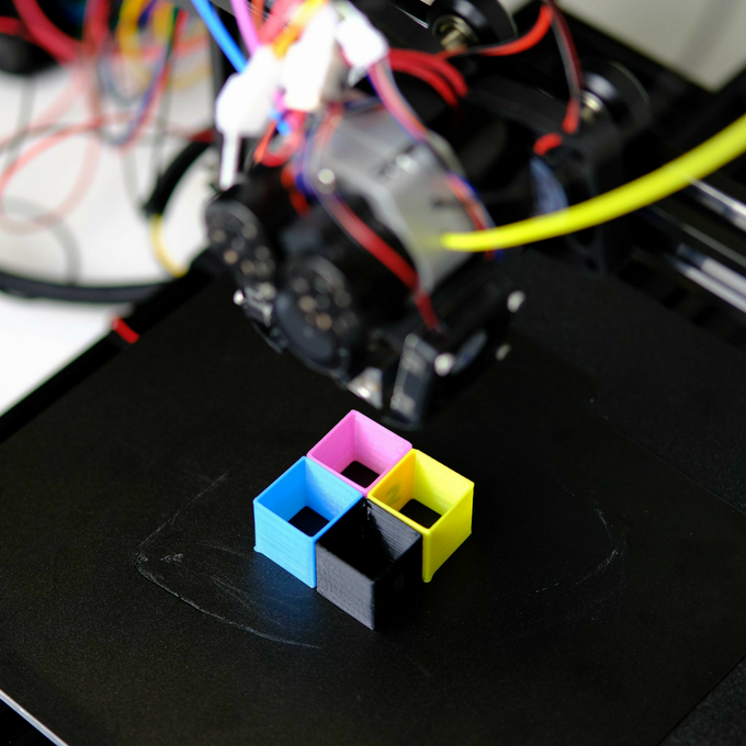 the quadfusion print head works in conjunction with the duet 2 maestro  board, upgraded with m3d's extruder expansion board, or any other control  board that