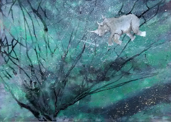 Sudan In the Sky with Diamonds. Tribute Painting to The Last White Rhino