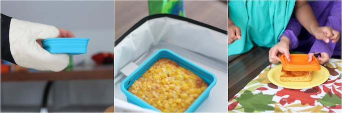 BAKE, PACK AND GO with single portion, oven and microwave safe, silicone collapsible containers for a new take on lunch