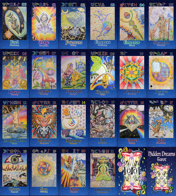 Images of each card in the deck, as well as the backs of the cards, and the front of the box.