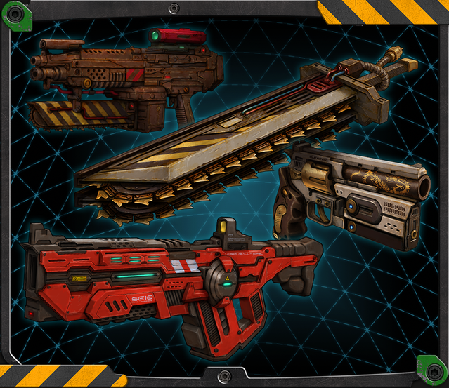 Saw Assault Rifle, Reaver Sword, Golden Dragon Pistol, and Prototype Laser Rifle.