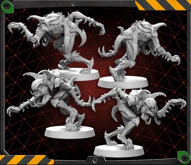 Driller Hunter figures 3D renders.