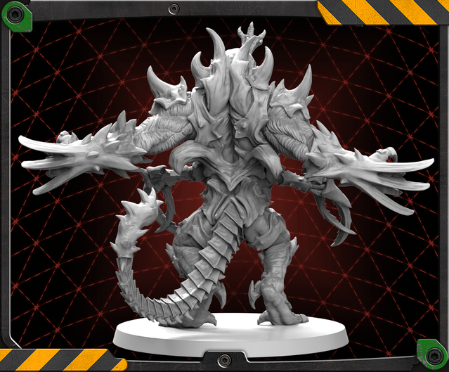 Back of the Driller Abomination figure 3D render.